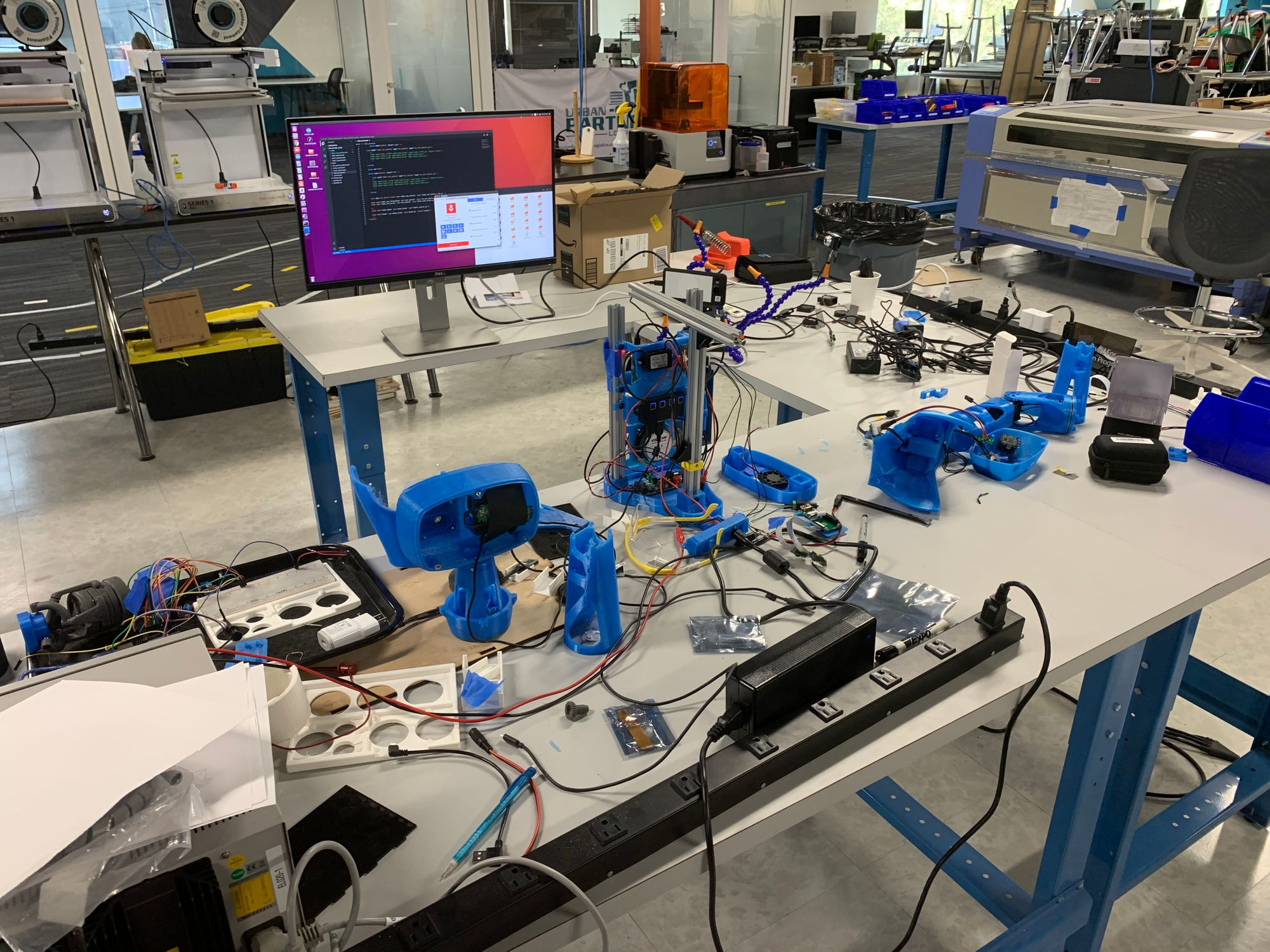 Reachy test bench in the Circuit Launch Lab